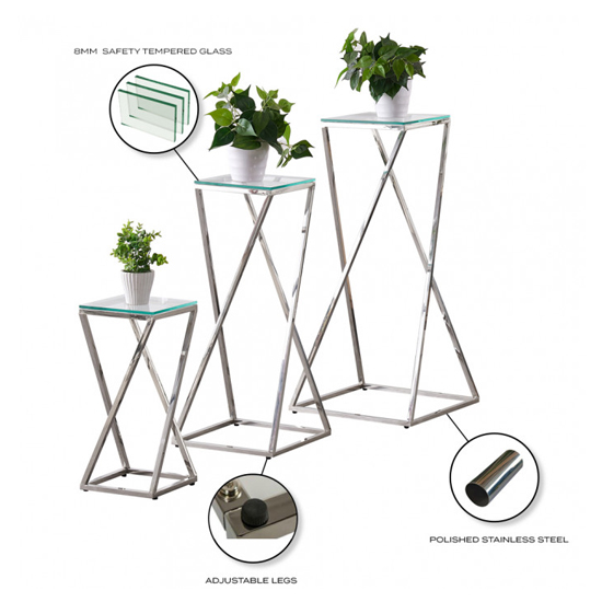 Pisa Set Of 3 Clear Glass Side Tables With Silver Steel Legs_5