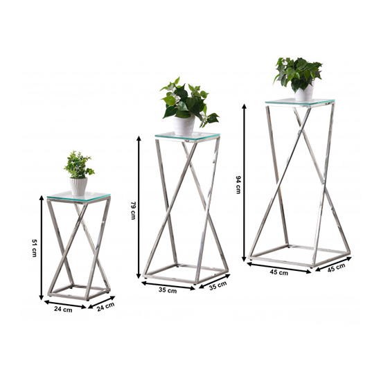 Pisa Set Of 3 Clear Glass Side Tables With Silver Steel Legs_6