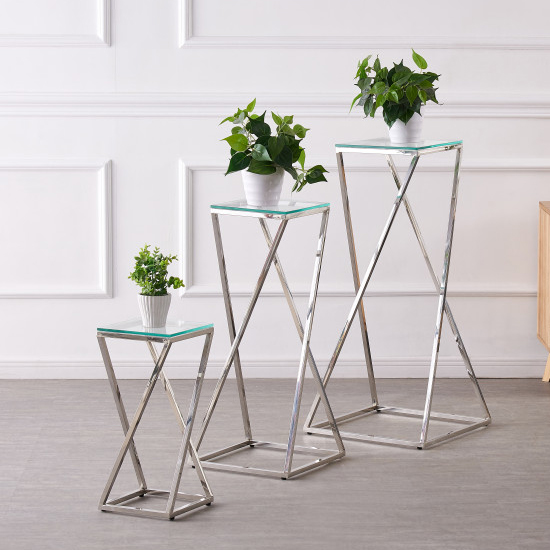 Pisa Set Of 3 Clear Glass Side Tables With Silver Steel Legs_1