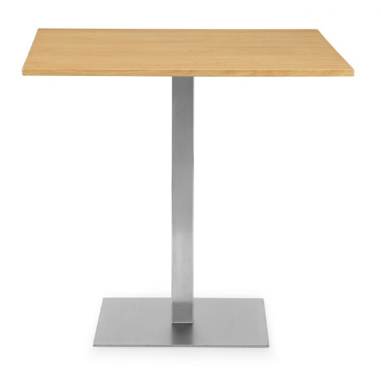 Pisa Square Bistro Dining Table In Oak With Chrome Pedestal_2