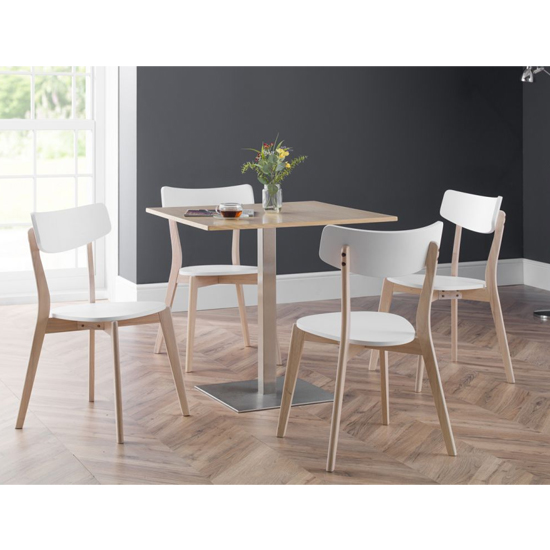 Pisa Square Bistro Dining Table In Oak With Chrome Pedestal_4