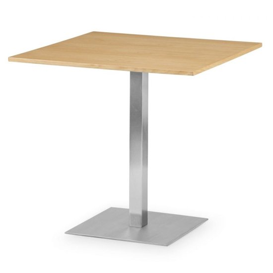 Pisa Square Bistro Dining Table In Oak With Chrome Pedestal_1