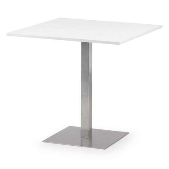 Pisa Square Bistro Dining Table In White With Chrome Pedestal