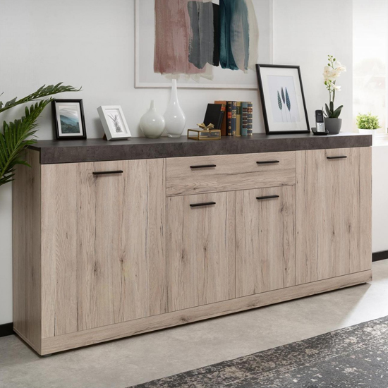 Piscis Large Sideboard In Sorrento Oak And Dark Concrete