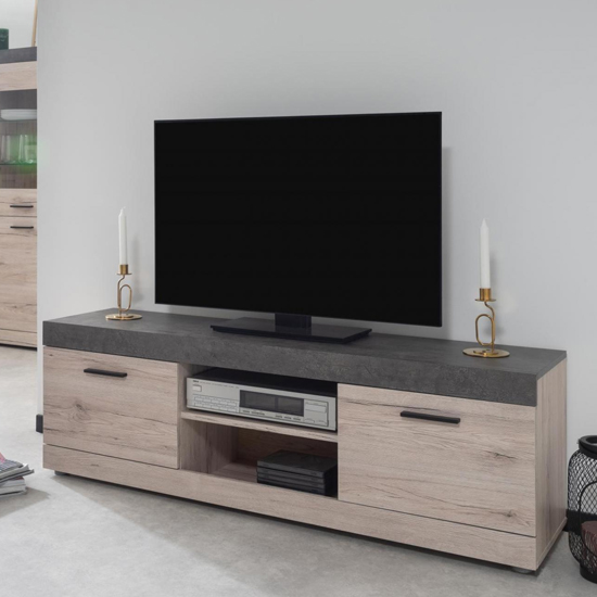 Piscis TV Unit In Sorrento Oak And Dark Concrete