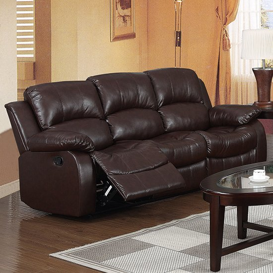 Piscium Leather Full Bonded Recliner 3 Seater Sofa In Brown_1