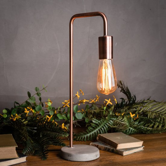 View Piura industrial table lamp in copper with stone base
