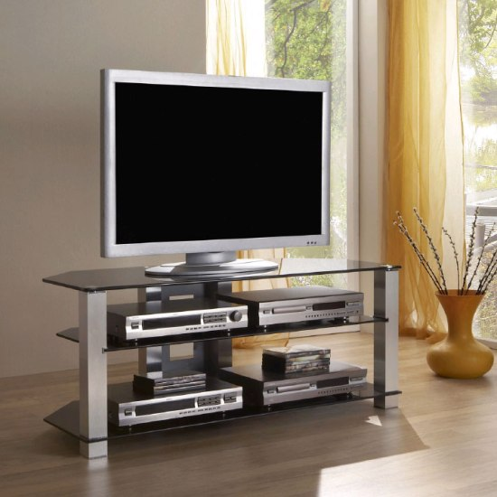 plasma glass tv stand 67200 - 6 Compact And Ingenious Ideas On TV Stands For Apartments