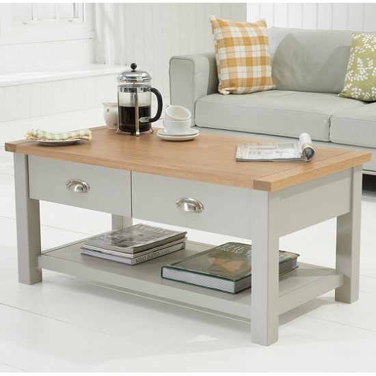 Platina Wooden Coffee Table In Grey And Oak With 4 Drawers