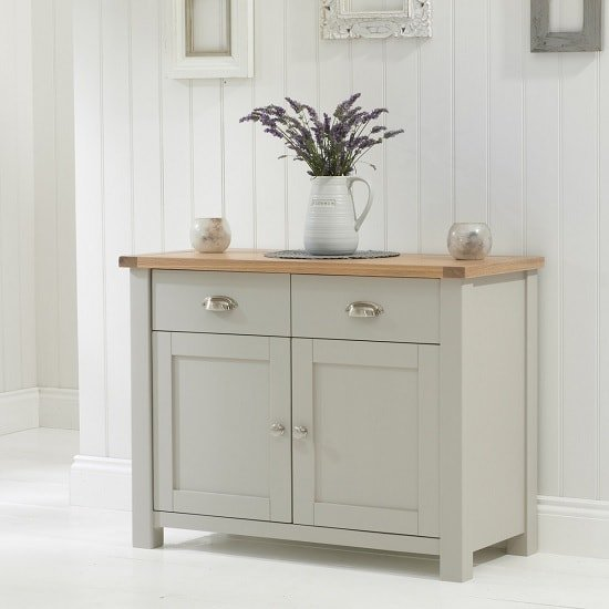 View Sandringhia wooden sideboard in oak and grey with 2 doors