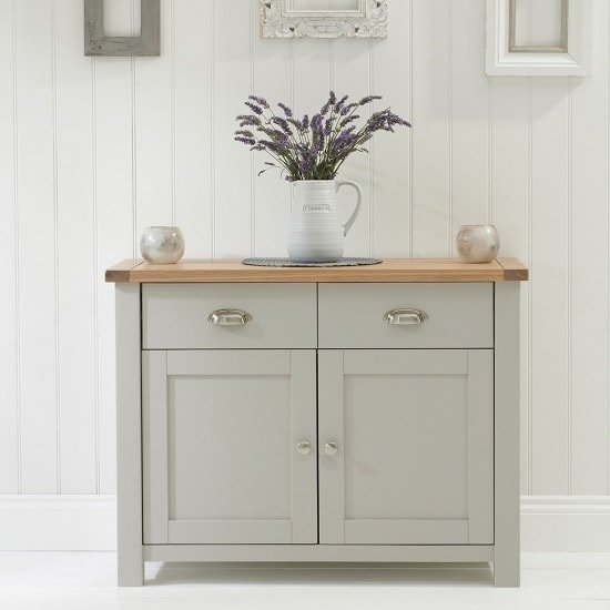 Platina Wooden Sideboard In Grey And Oak With 2 Doors_5