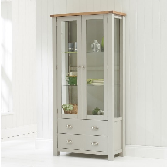 Platina Display Cabinet In Oak And Grey With 2 Doors