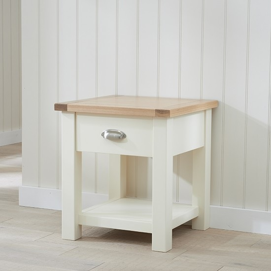 Platina Wooden Lamp Table Square In Oak And Cream_2