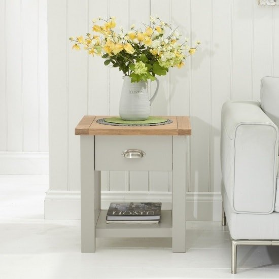 Platina Lamp Table In Oak And Grey With 1 Drawer