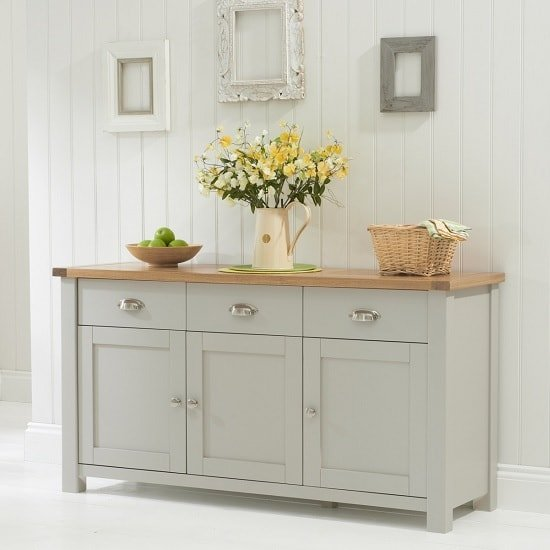 View Sandringhia wooden sideboard in oak and grey with 3 doors