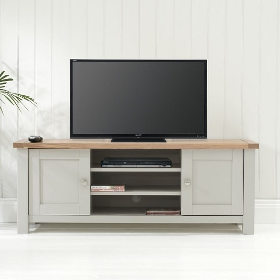 Platina Wooden TV Stand In Grey And Oak With 2 Doors