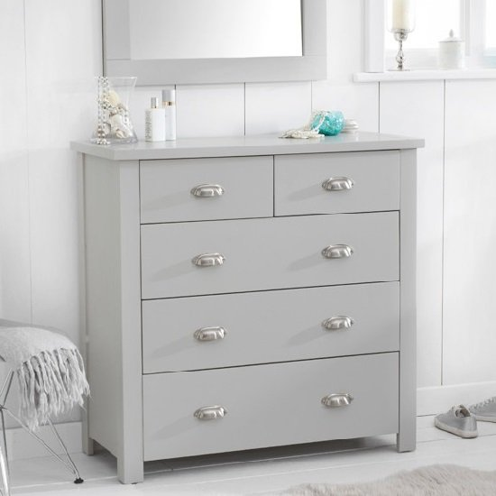 Platina Modern Chest Of Drawers In Grey With 5 Drawers