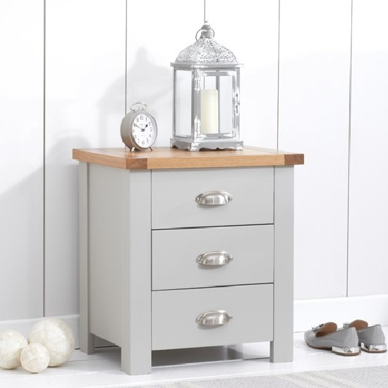 Platina Wooden Bedside Cabinet In Oak And Grey With 3 Drawers