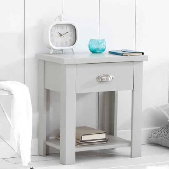 Platina Wooden Bedside Table In Grey With 1 Drawer