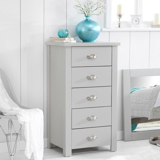 Platina Tall Chest Of Drawers In Grey With 5 Drawers