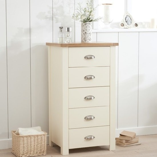 Platina Tall Chest Of Drawers In Cream And Oak With 5 Drawers