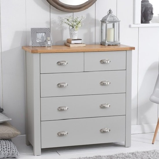 Platina Modern Chest Of Drawers In Grey And Oak With 5