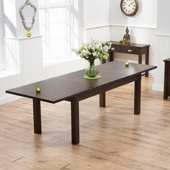 Platina Wooden Extendable Dining Table Rectangular In Dark Oak