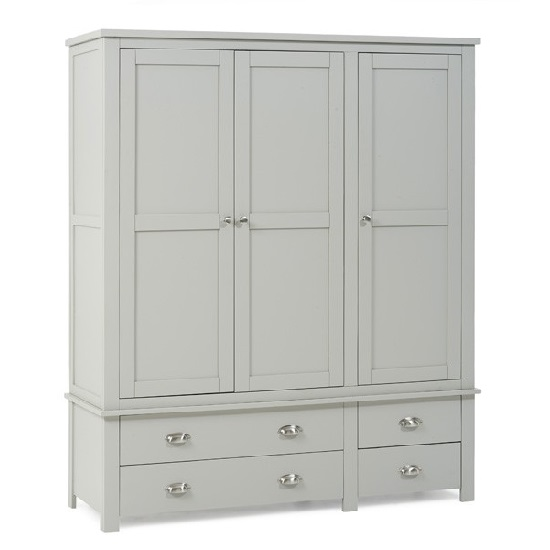 Platina Large Wardrobe In Grey With 3 Doors And 4 Drawers_3