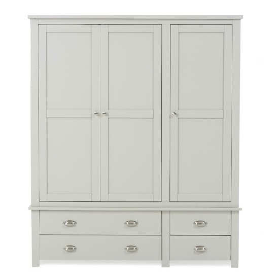 Platina Large Wardrobe In Grey With 3 Doors And 4 Drawers_5