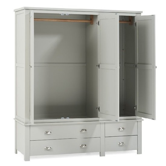 Platina Large Wardrobe In Grey With 3 Doors And 4 Drawers_2