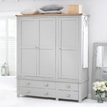 Platina Large Wardrobe In Grey And Oak With 3 Doors