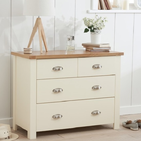Platina Small Chest Of Drawers In Cream And Oak With 4 Drawers
