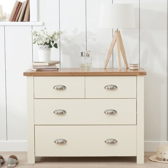 Platina Small Chest Of Drawers In Cream And Oak With 4 Drawers_2