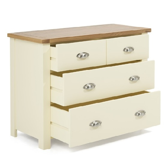 Platina Small Chest Of Drawers In Cream And Oak With 4