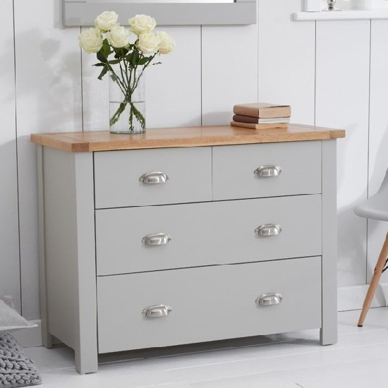 Platina Small Chest Of Drawers In Grey And Oak With 4