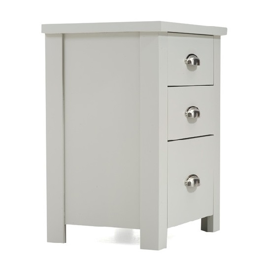 Platina Wooden Tall Bedside Cabinet In Grey With 3 Drawers_4