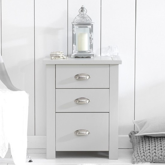 Platina Wooden Tall Bedside Cabinet In Grey With 3 Drawers_5