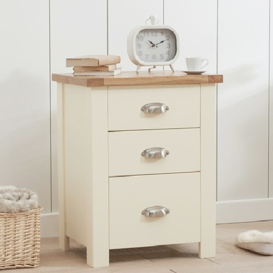 Platina Wooden Tall Bedside Cabinet In Oak And Cream 1