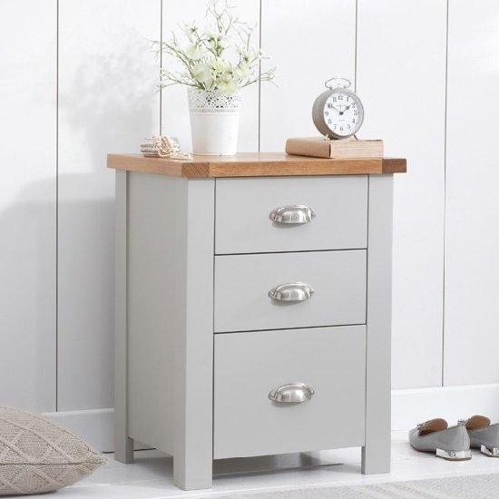 Platina Wooden Tall Bedside Cabinet In Oak And Grey_1