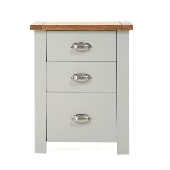 Platina Wooden Tall Bedside Cabinet In Oak And Grey_3