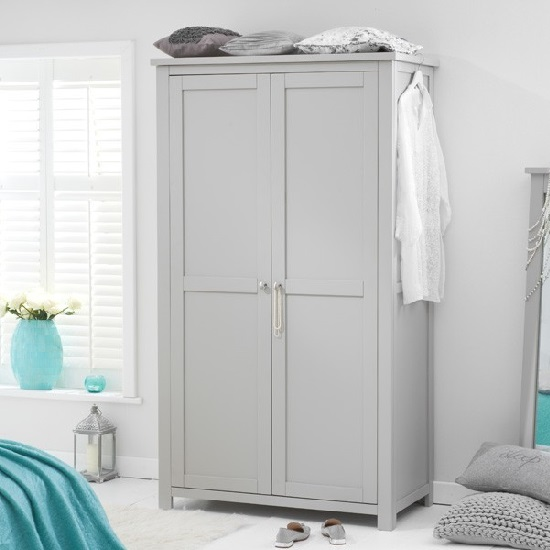 Platina Wooden Wardrobe In Grey With 2 Doors