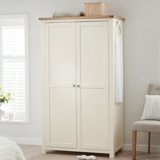 Platina Wooden Wardrobe In Cream And Oak With 2 Doors