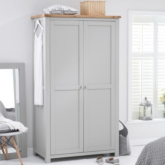 Platina Wooden Wardrobe In Grey And Oak With 2 Doors