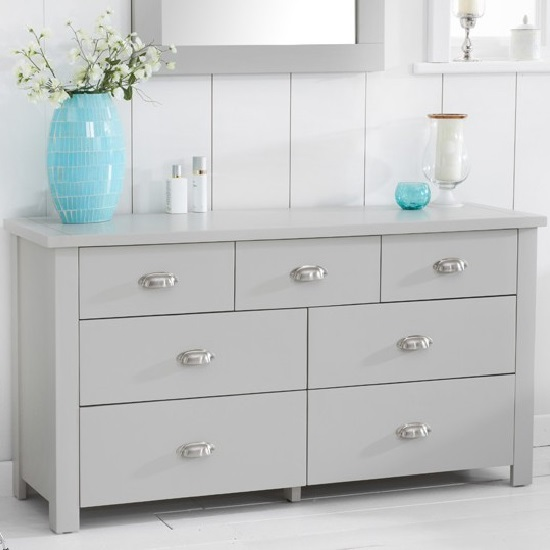 Platina Wide Chest Of Drawers In Grey With 7 Drawers