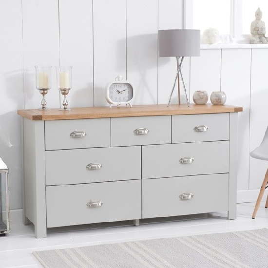 Platina Wide Chest Of Drawers In Grey And Oak With 7 Drawers