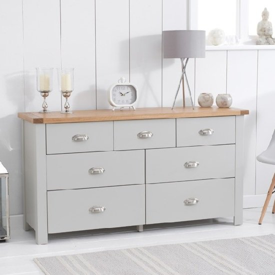 Platina Wide Chest Of Drawers In Grey And Oak With 7 Drawers_1