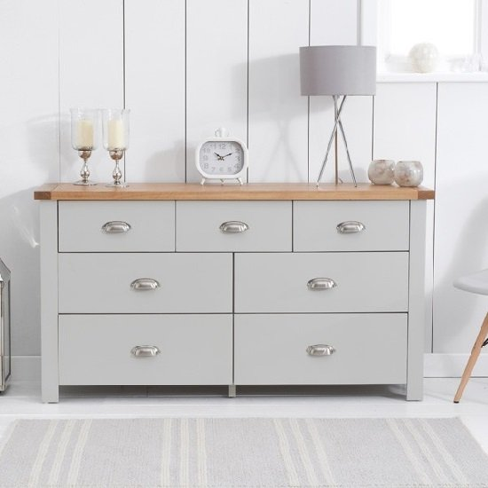 Platina Wide Chest Of Drawers In Grey And Oak With 7