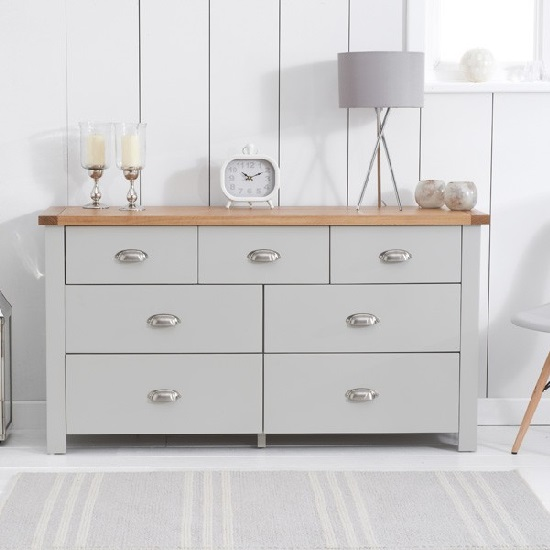 Platina Wide Chest Of Drawers In Grey And Oak With 7 Drawers_2