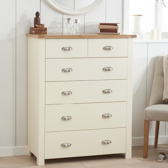 Platina Wooden Chest Of Drawers In Cream And Oak With 6 Drawers