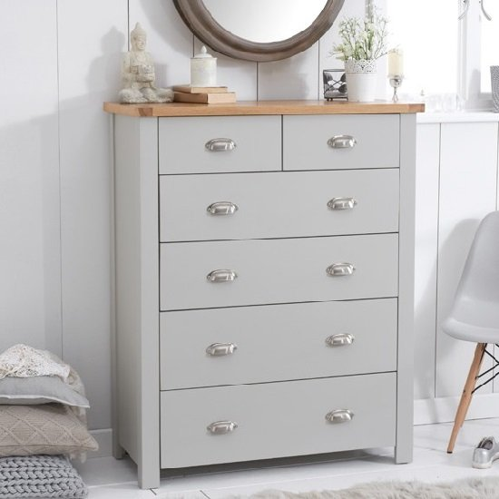 Platina Wooden Chest Of Drawers In Grey And Oak With 6 Drawers